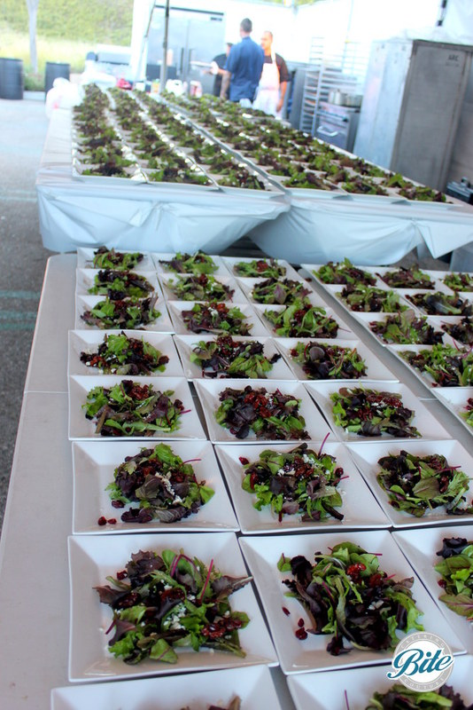 Alliance for the Arts Rooftop Gala Newport Salad: Mixed Baby Greens with dried cranberries, candied walnuts, Blue Cheese, Lemon-Balsamic Vinaigrette and homemade croutons