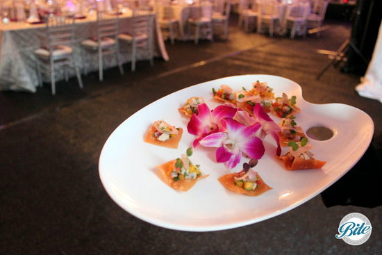Alliance for the Arts Rooftop Gala Seasonal Ceviche with fresh Mango Served on petit wonton crisps