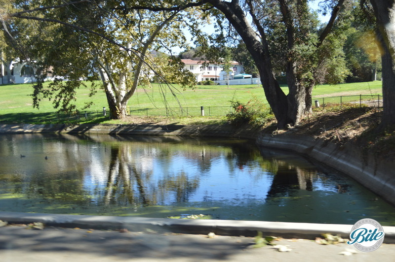 Lake inside the venue grounds leading up to the event space