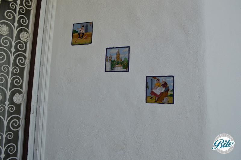 Original tiles in walls upon entrance