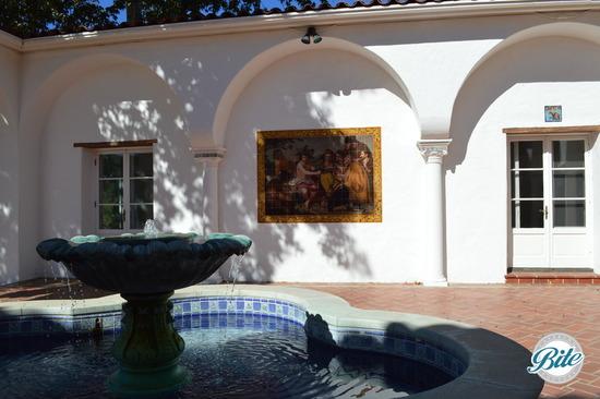 Courtyard fountain with mosaic