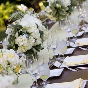 Gorgeous summery locally-sourced arrangements for a family-style reception dinner
