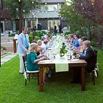 Intimate family-style wedding reception dinner
