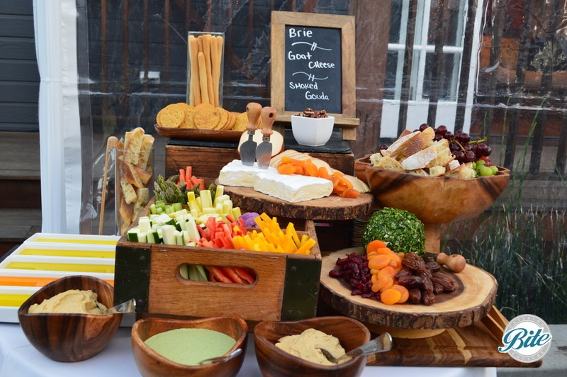 Our signature cheese charcuterie, famrer's market crudite and olive oil tasting display