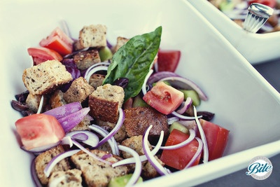 Family style Italian /Tuscan salad of bread and tomatos