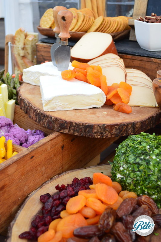 Our beautiful cheeses and accompaniments including dried fruit, nuts, crudite, and fresh fruit
