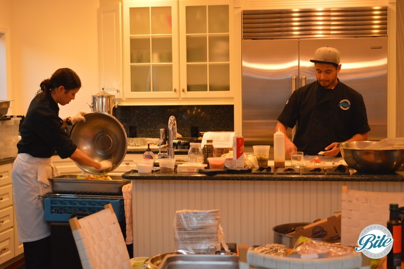 Our chefs prepaing dinner in the kitchen