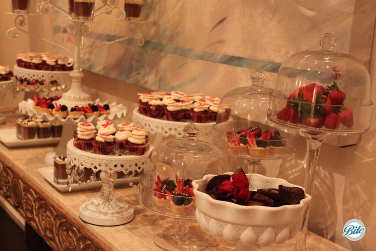 A close-up of the detailed dessert display