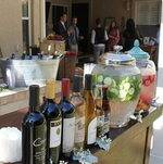 A well-designed self-serve bar for an intimate wedding with our flavored water display