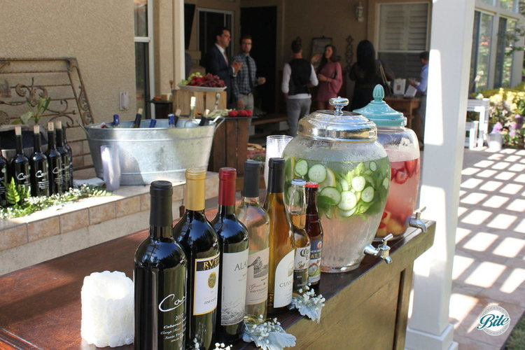 A well-designed self-serve bar for an intimate wedding