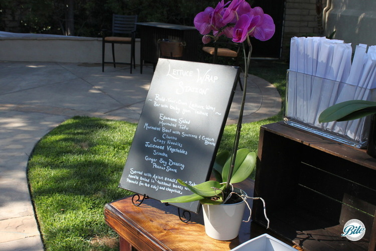Hand-written chalkboard signage for our lettuce wrap station