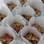 Lettuce Wrap Station Signage Organic Soba Noodles Prep