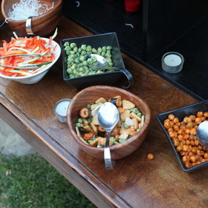 A variety of Asian snacks we serve with our lettuce wrap station