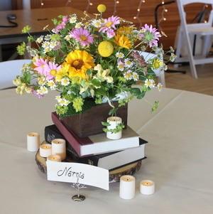 Book Themed Flower Table Centerpiece
