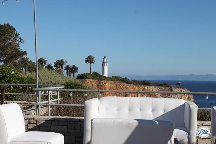 Outdoor lounge set up outside at Point-Vencente Interpretive Center