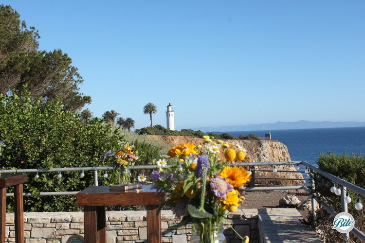 Daytime view of the lighthouse from the outdoor lounge area