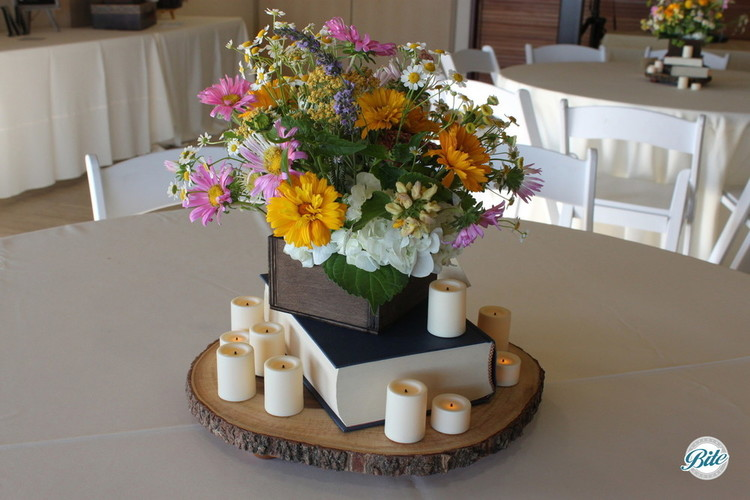 Table centerpieces - books and woodland theme