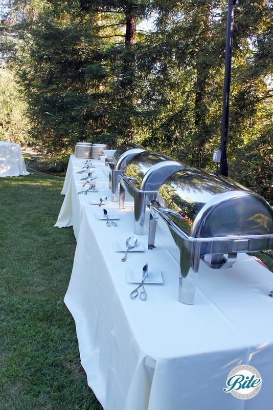 BBQ buffet in backyard setting