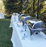 BBQ buffet in backyard setting