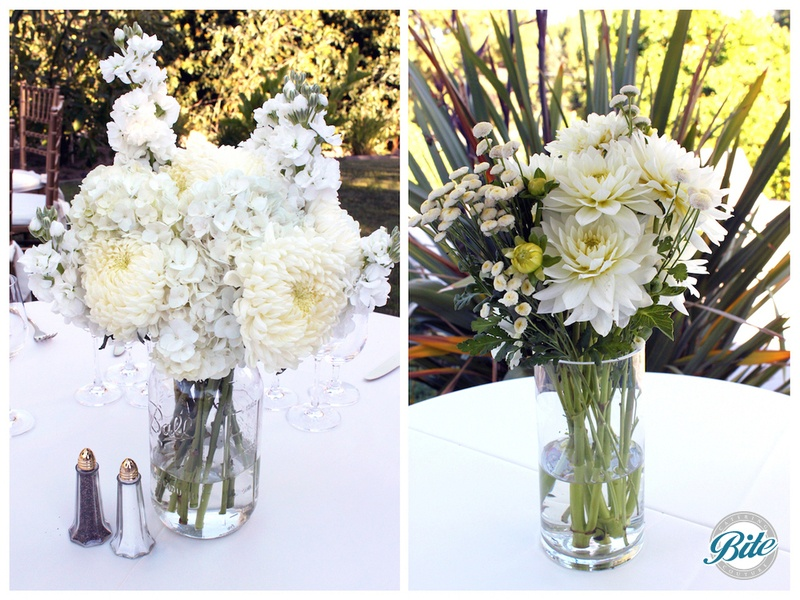 Tasteful client floral arrangements with mixed white flowers