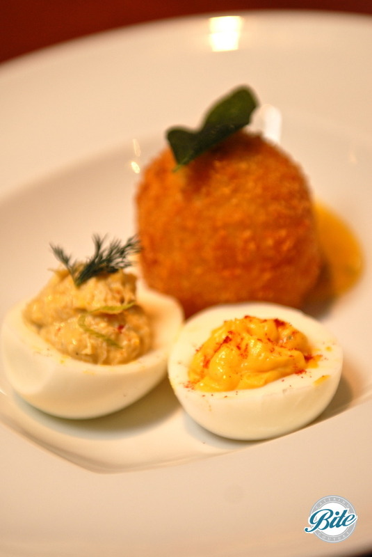 Tapas inspired small plates - deviled egg trio