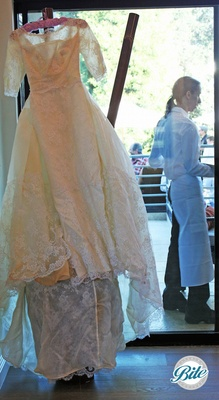 The bride's wedding dress from 50 years earlier on display