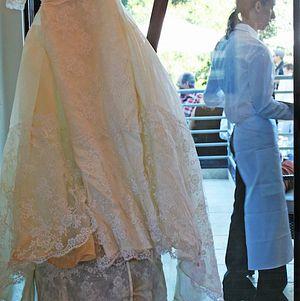 The wedding dress on display