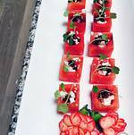 Refreshing watermelon cubes with feta to enjoy by the pool
