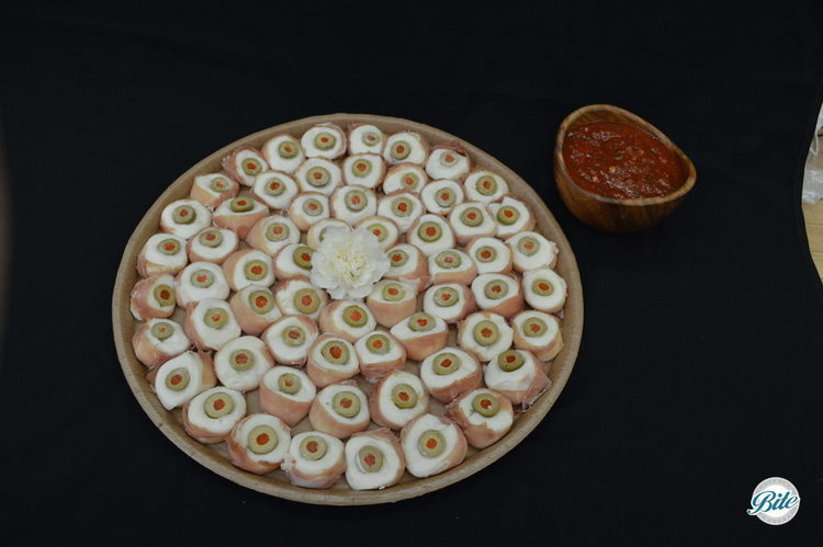 "Bocconcini ""Eyeballs"" with prosciutto,