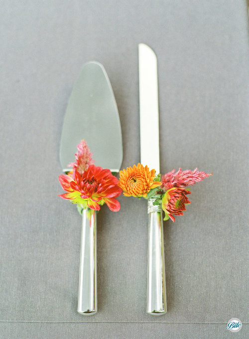 Beautifully decorated cake knife and server to match the bridal flowers