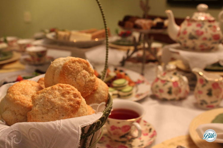 Scones in a basket during a high tea service