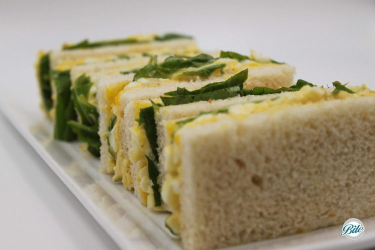 Finger sandwich version of our egg salad tea sandwich from our high tea menu