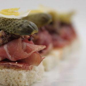 Open faced charcuterie tea sandwich