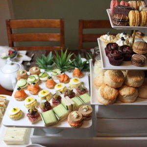 High Tea Display on White Risers