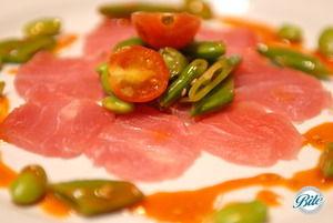 Plated Ahi Tuna Sashimi with edamame