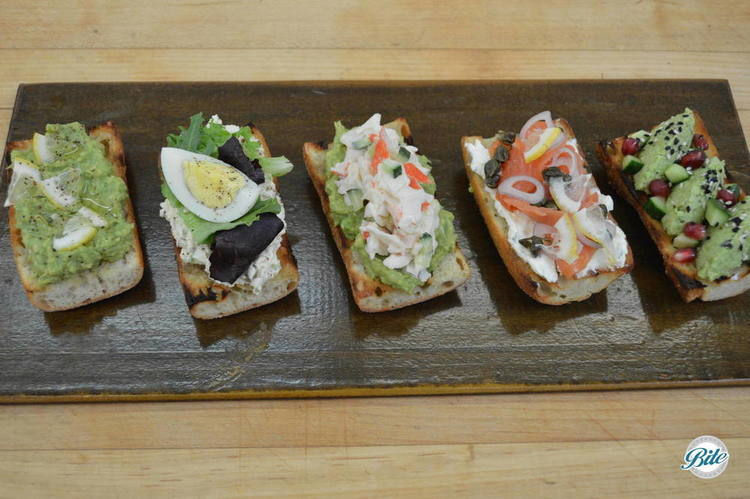 Assorted Tartine on wood backdrop