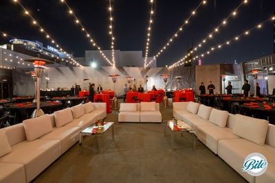 Lounge setup on rooftop ahead of event @ Madame Tussauds