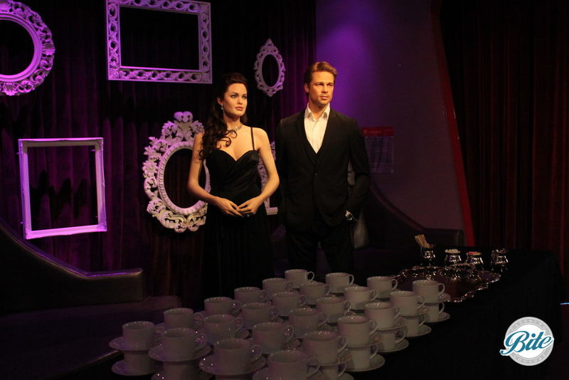 Coffee is served! Brad and Angelina getting some joe @Madame Tussauds Hollywood