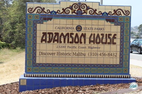 Tiled entry sign for Adamson House in Malibu
