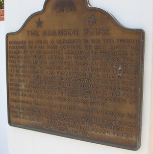 Plaque Outlining History of Adamson House