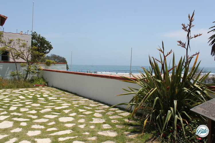 Taste of salt water is in the air as you look out over the ocean from the entrance courtyard at the Adamson House