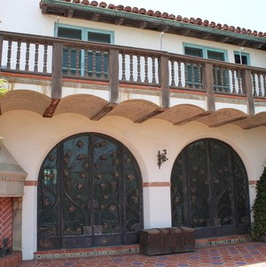 Rear of Adamson House with decorated doors and balcony