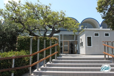 Picturesque entrance to the Malibu West Beach Club. Graceful stairs, trees, and an inviting entryway.