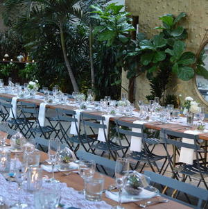Long tables @ Millwick setup with view of magic garden