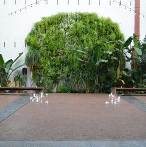 Courtyard Garden @ Millwick w/ candles for ceremony