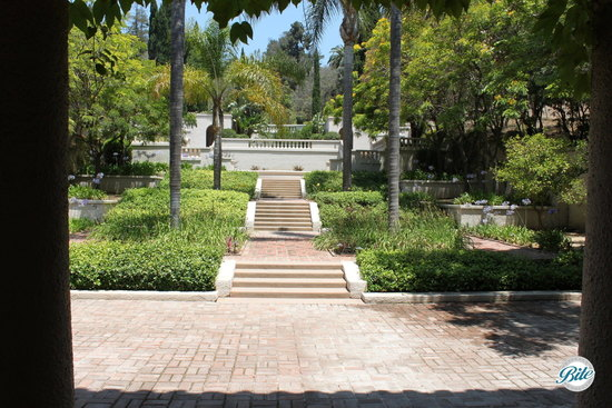 Backyard at Wattles Mansion with stunning landscaping and 6+ courtyard areas for staggered seating or event stations