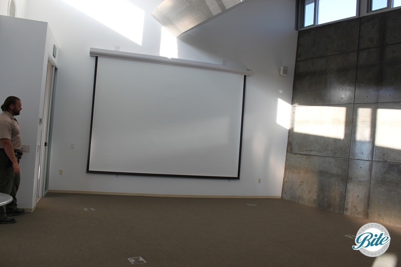 The large screen and projector and speakers provide convenient Audio/ Visual capabilities at the Baldwin Hills Scenic Overlook