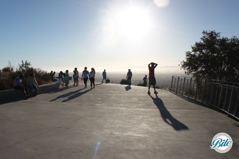 The Overlook area is a small concrete area where the paths at Baldwin Hills Scenic Overlook converge at the top. It's available for rental (at a price as steep as the hill!) but better just for taking pictures and admiring the view
