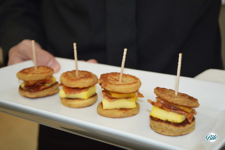Tray passed Mini Eggy Bread sandwiches with french toasted bread, egg frittata and crispy maple bacon