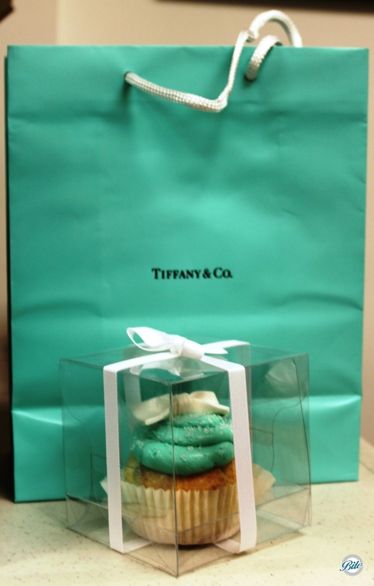 Cupcakes with Tiffany Blue icing, in clear box with white ribbon for presentation